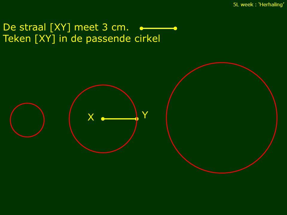 Teken [XY] in de passende cirkel